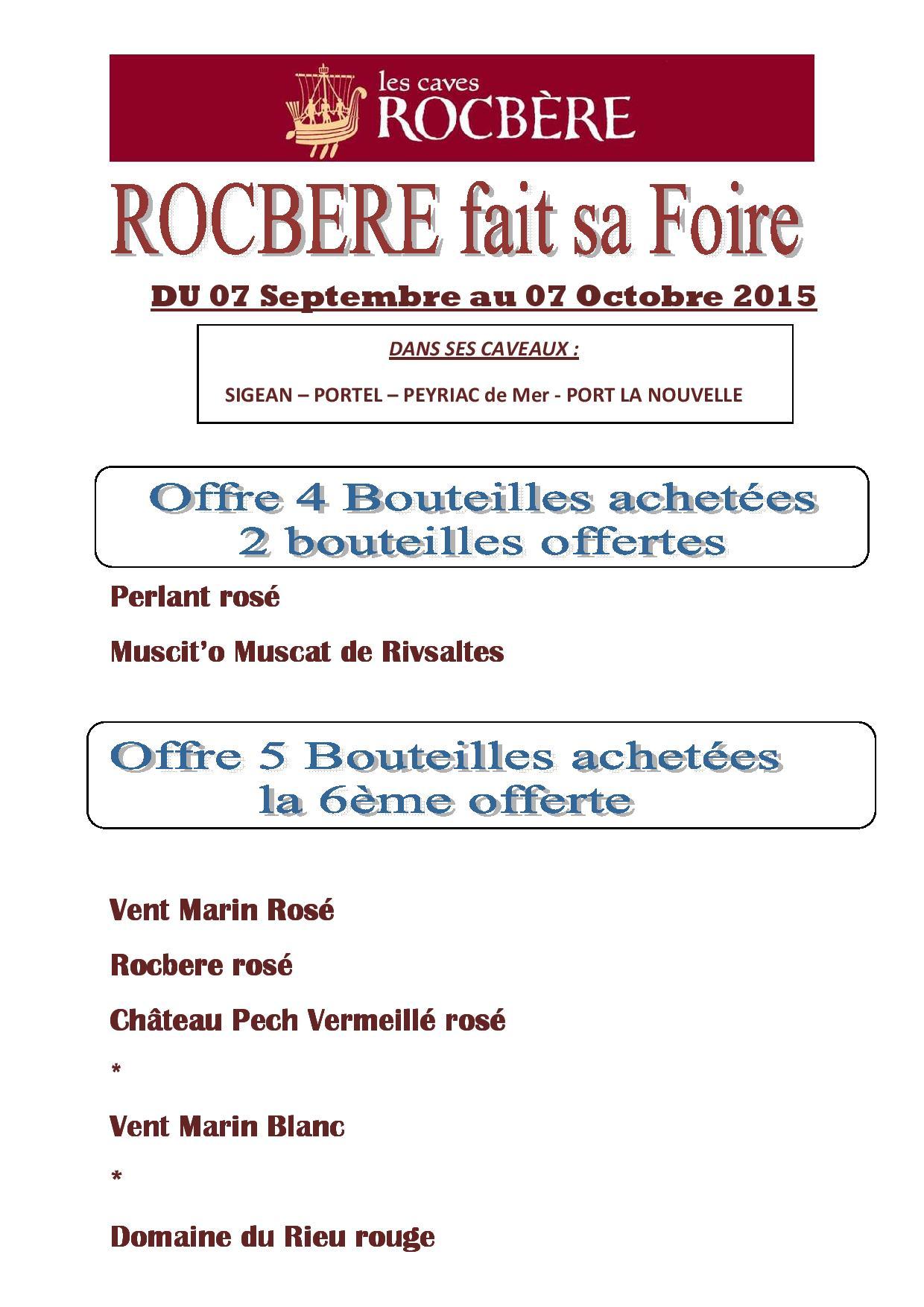 Rocbere fait sa foire du 07 septembre au 07 octobre 2015 - 2400 chemin des vignes 11210 port la nouvelle ...